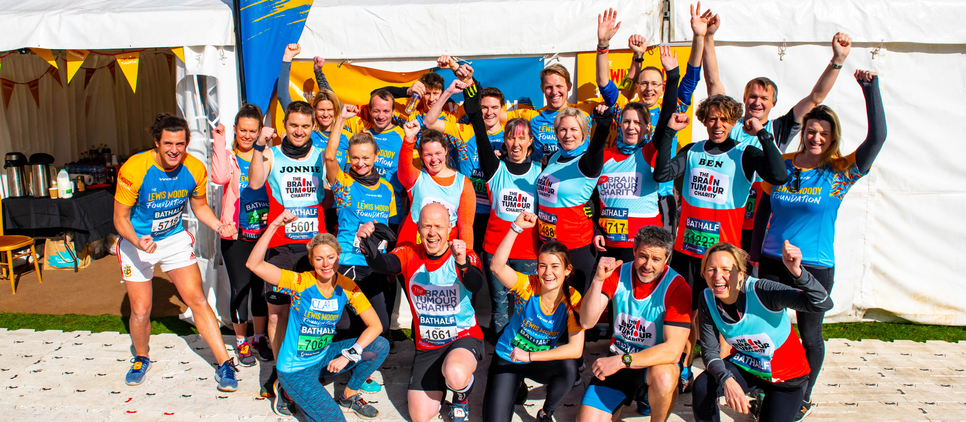 The Lewis Moody Foundation team celebrate after they beat the Bath Half Marathon 2019